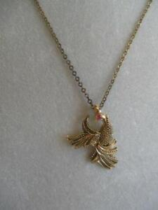 ADORABLE OLD VINTAGE GOLDTONE CHAIN NECKLACE / PEACOCK PENDANT
