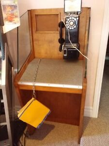 Antique Payphone Privacy booth - cool man cave recroom pinball