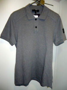 Belstaff Westley Grey Pique Biker Polo, Size M New with tags