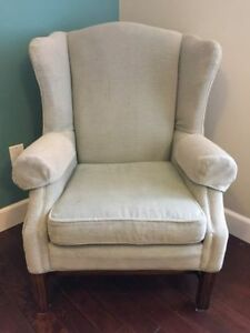 Grey wingback accent chair