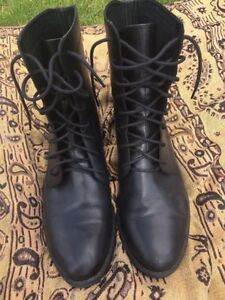 Black Leather Festival Boots