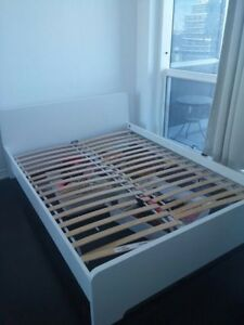 White IKEA Queen Bed Frame Like New - Free Delivery