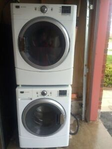 2 years maytag front load glass stackable washer dryer for sale