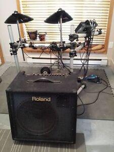 Drum électronique yamaha + ampli drum/clavier Roland 150 WATTS!!