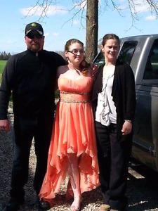Strapless Size 12 coral high low prom dress.