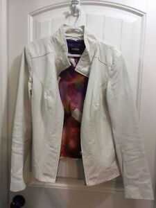 Ladies White Leather Jacket for sale