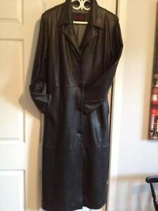 Manteau de cuir LONG.POUR DAME.