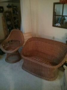 Vintage wicker chair and loveseat set