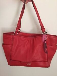 Coach Park leather Carrie tote in silver and vermillion