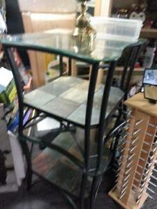 2 glass end tables and coffee table