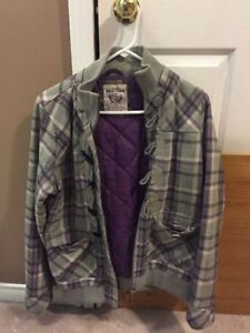 Purple & Gray Plaid Jacket- size large