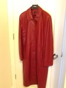 Leather (red) 3/4 length coat