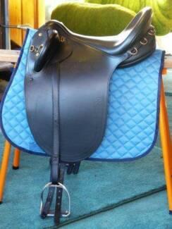 New Bates Kimberley Stock Saddle, black leather, size large