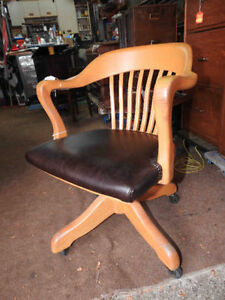 antique krug swivel office chair, new leather seat