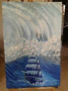 "Wave.  Selling my original painting $100 24""X36"""