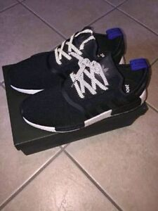 Adidas originals core black NMD r1 blue black white. Rare. LAST