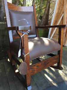 antique arts and craft chair, new leather seat