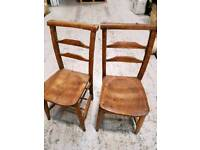 vintage wooden church chairs x 2