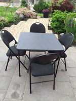 Black square foldable table and 4 chairs set