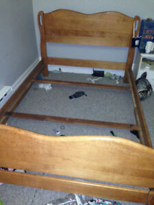 3/4 solid wood bed frame  (made in Canada)