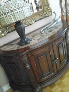 Buffet Credenza Console in Solid Wood w Marble Top Like New!