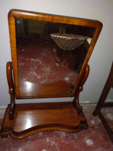 Antique Empire mahogany men's large shaving mirror