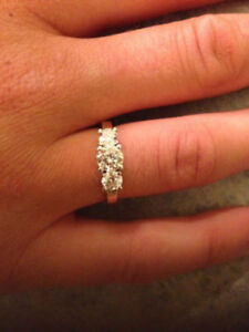 Valued at 7K, 3 Diamond Yellow and White Gold Engagement Ring