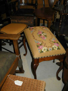Many different antique ottoman, stools ,benches in FABRIC