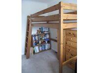 Pine loft bed frame