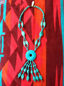 SOLID TURQUOISE NECKLACE TRIBAL AZTEC ABORIGINAL ETHNIC JEWELRY