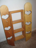 Wood heart shelf just $15. Please note: missing one peg.  Check