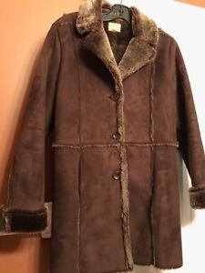 Suede and Fur Coat - Size M