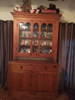 PRE 1850 Waterloo County Ontario PINE Hutch with Pie shelf