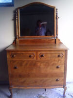 Two Beautiful Old Dressers and Hutch