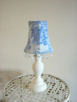 Small Blue and White Toile Lamp with Crystal Fringe