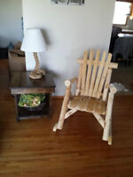 Harvest end table with shelf