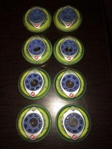 Set of 8 76mm K2 Eclipse inline skate wheels. 70/A/78A