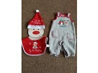 Christmas dungarees with brand new hat and bib for new baby