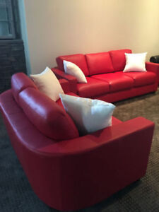 Brand New LIND Red Top Grain Leather Living Room Set