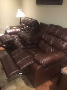 FAUX LEATHER RECLINER COUCH AND RECLINER CHAIR