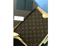 Louis Vuitton gold and brown IPad case