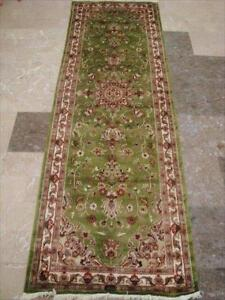 Exclusive Green Floral Kashan Soft Hand Knotted Hall Way Runner Rug (7.11 x 2.7)'