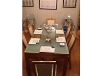 Glass top table & 6 chairs