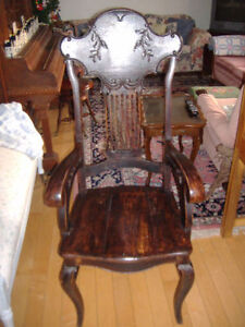 Antique solid oak rocking chair plus other chairs Kitchener / Waterloo Kitchener Area image 2