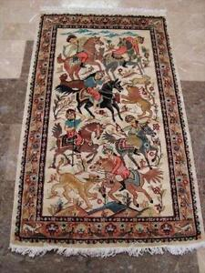 6 HORSE HUNTING ORIENTAL HAND KNOTTED RUG WOOL fB-2880