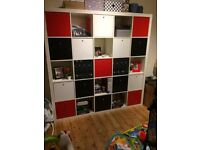 IKEA EXPEDIT white shelving unit 182cmx182cm w/ drawers and pull down doors for sale, £150.