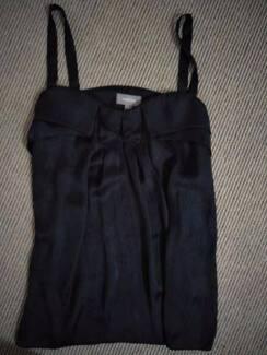 Black silk formal dress sleeveless blouse
