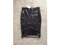 Sequined H&M knee length skirt (unworn, with tags). Size S - 8/10
