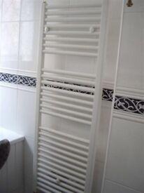 White enamel ladder towel radiator