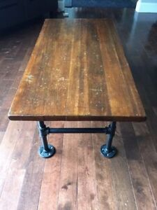 Rustic stained wood / pipe coffee table